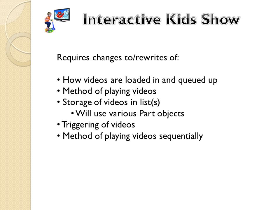 Requires changes to/rewrites of: How videos are loaded in and queued up Method of playing videos Storage of videos in list(s) Will use various Part objects Triggering of videos Method of playing videos sequentially