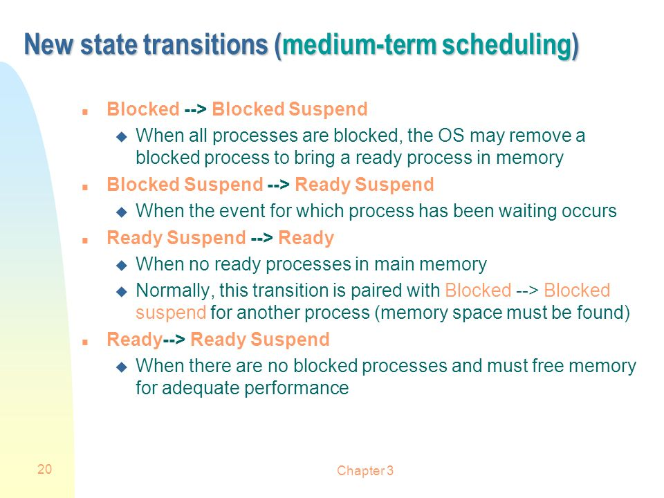 Chapter 3 20 New state transitions (medium-term scheduling) n Blocked --> Blocked Suspend u When all processes are blocked, the OS may remove a blocke