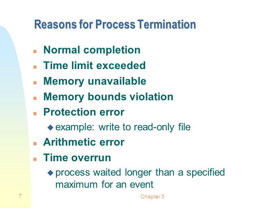Chapter 3 7 Reasons for Process Termination n Normal completion n Time limit exceeded n Memory unavailable n Memory bounds violation n Protection erro