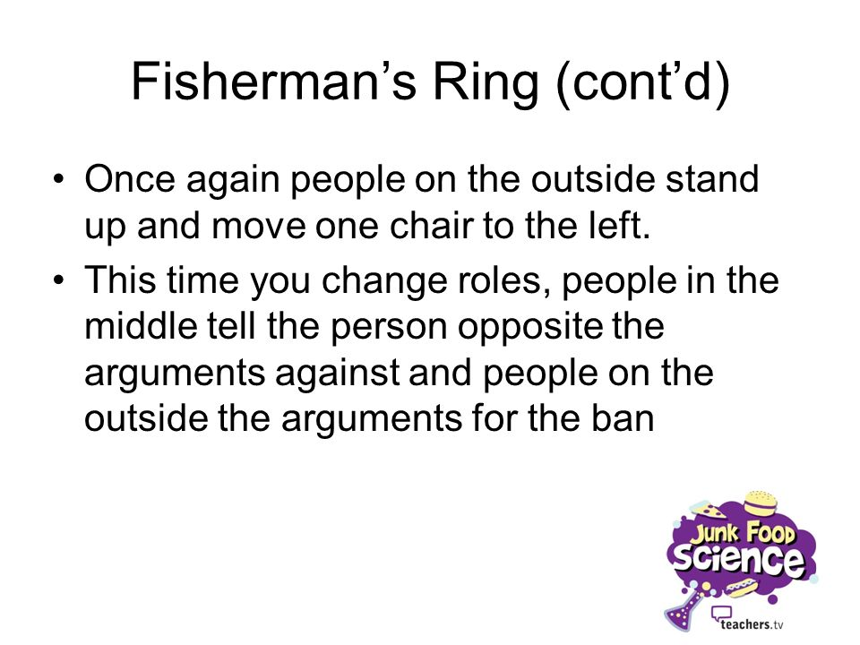 Fishermans Ring (contd) People on the outside once again stand up and move Repeat the arguments in the same roles, you can add arguments that you didnt use before