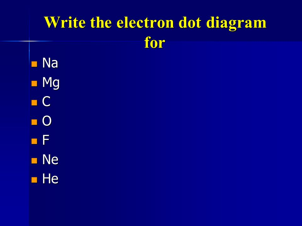 The Electron Dot diagram for Nitrogen l Nitrogen has 5 valence electrons. l First we write the symbol. N l Then add 1 electron at a time to each side.