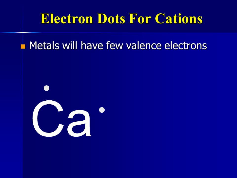 Electron Configurations for Cations Metals lose electrons to fill their outer levels Metals lose electrons to fill their outer levels They make positi