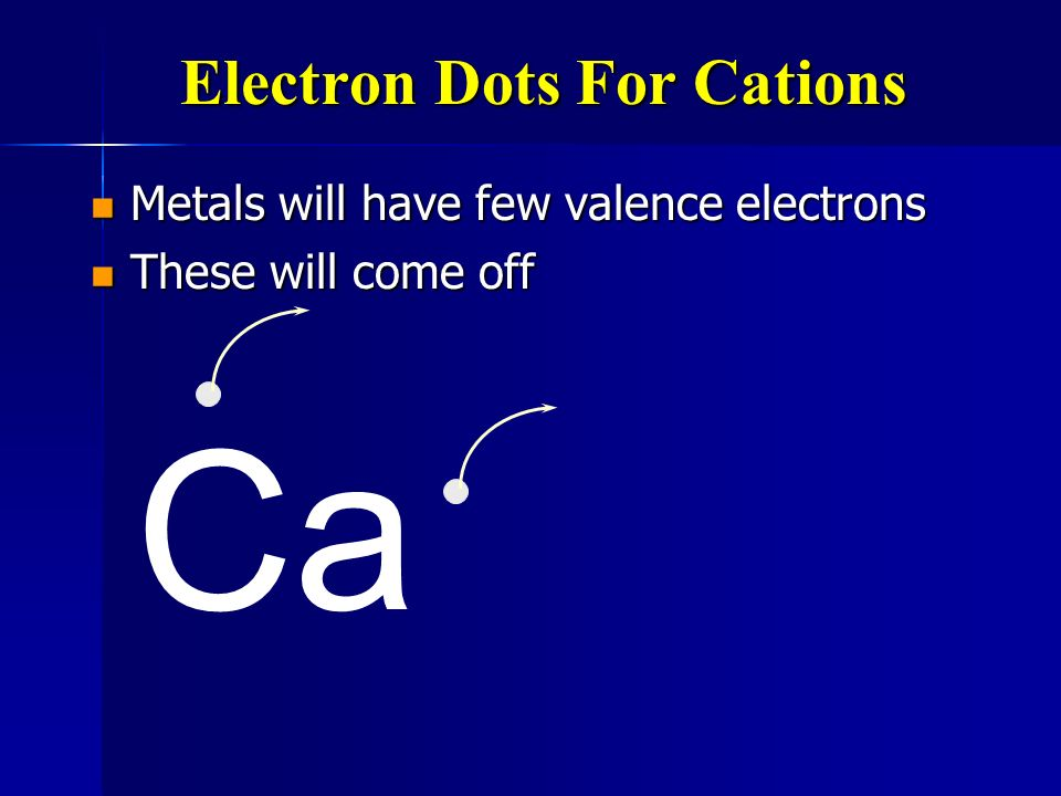 Electron Dots For Cations Metals will have few valence electrons Metals will have few valence electrons Ca