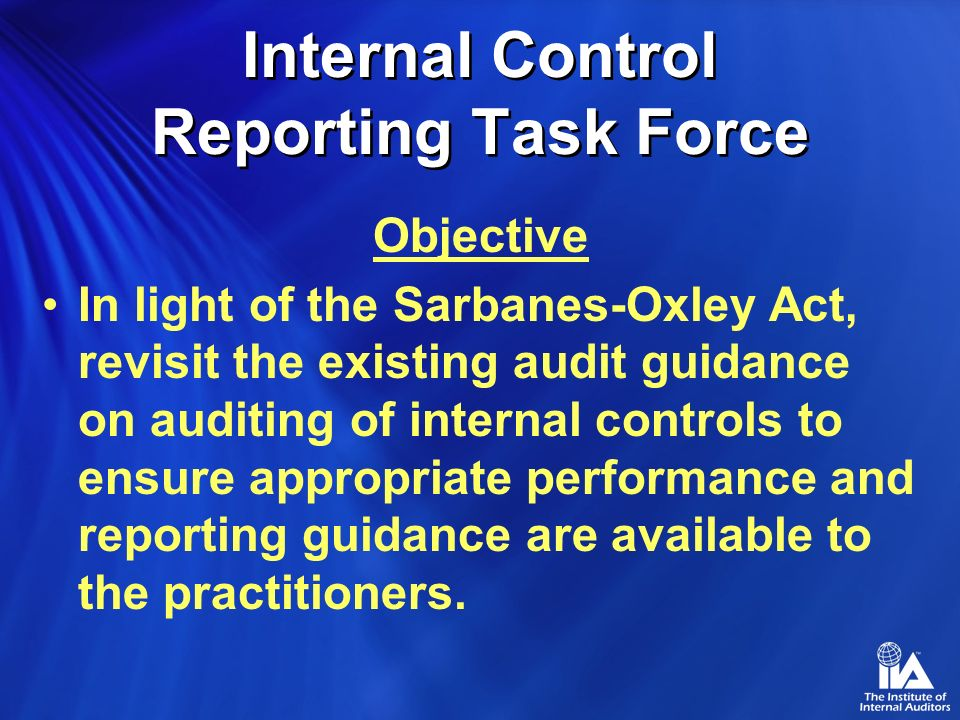 Internal Control Reporting Task Force