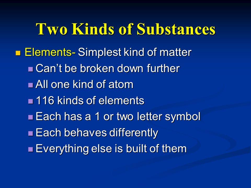 Two Kinds of Substances Elements- Simplest kind of matter Elements- Simplest kind of matter Cant be broken down further Cant be broken down further Al