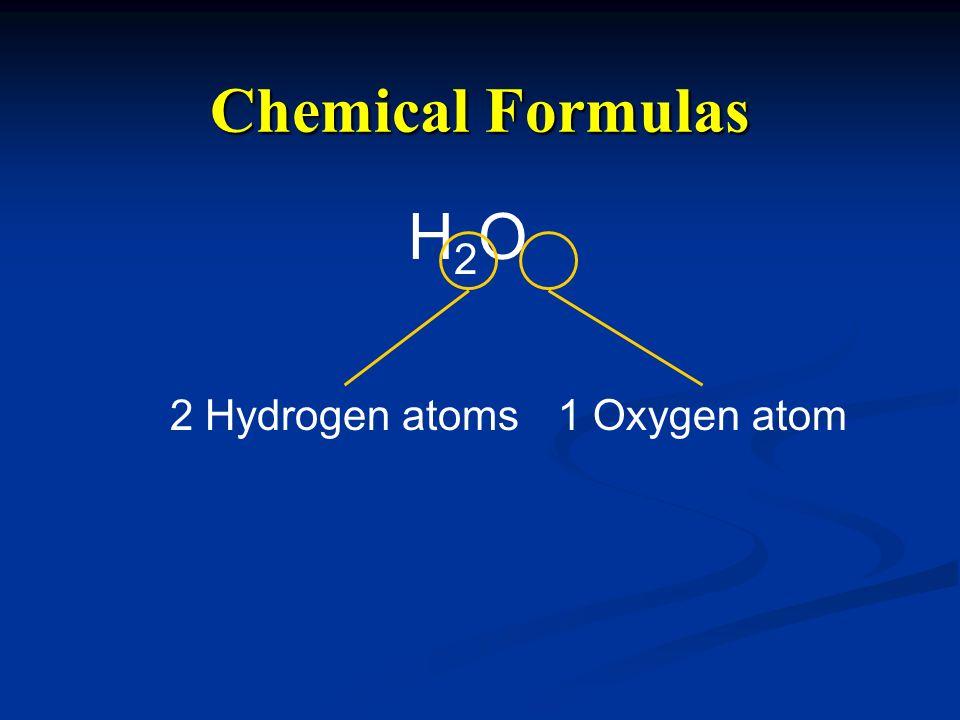 Chemical Formulas H2OH2O 2 Hydrogen atoms1 Oxygen atom