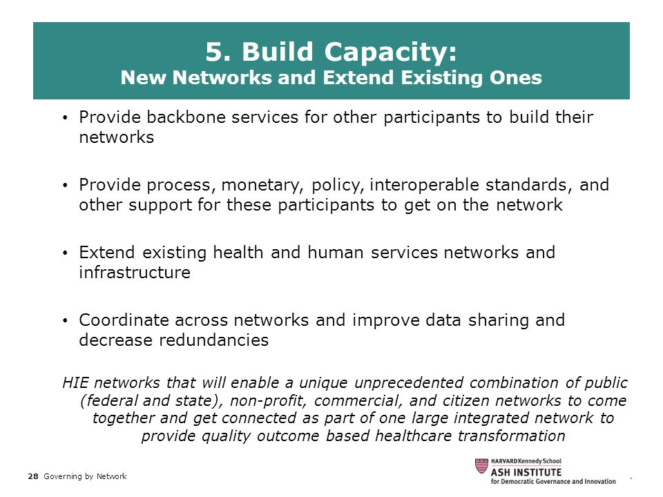 28 Governing by Network. Federal and State agencies working together can: Provide backbone services for other participants to build their networks Pro