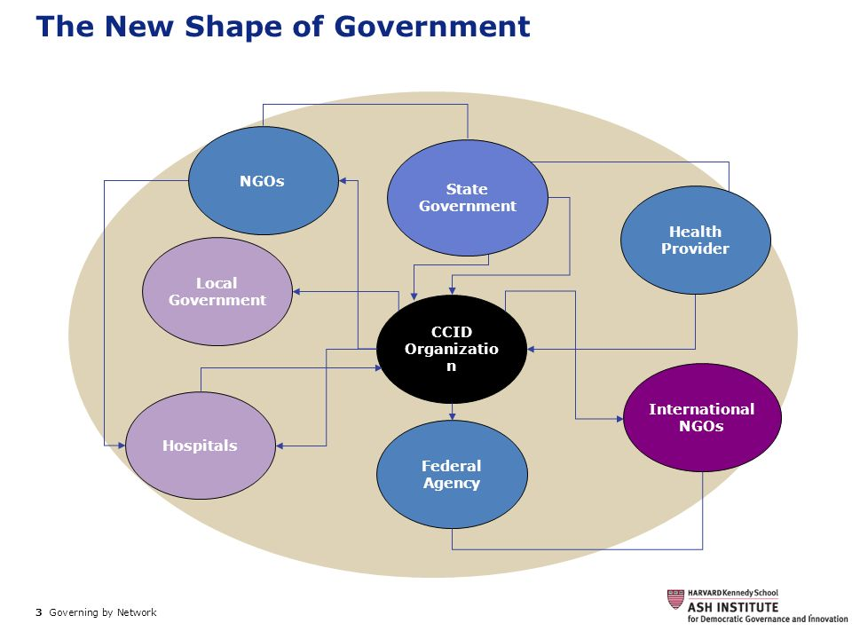 3 Governing by Network. The New Shape of Government CCID Organizatio n Local Government Hospitals Federal Agency International NGOs NGOs State Governm