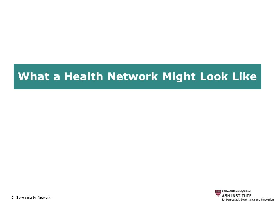 8 Governing by Network. What a Health Network Might Look Like