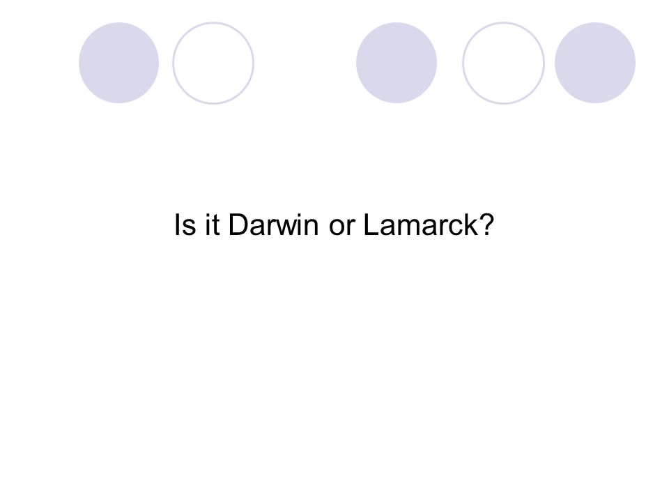 Is it Darwin or Lamarck
