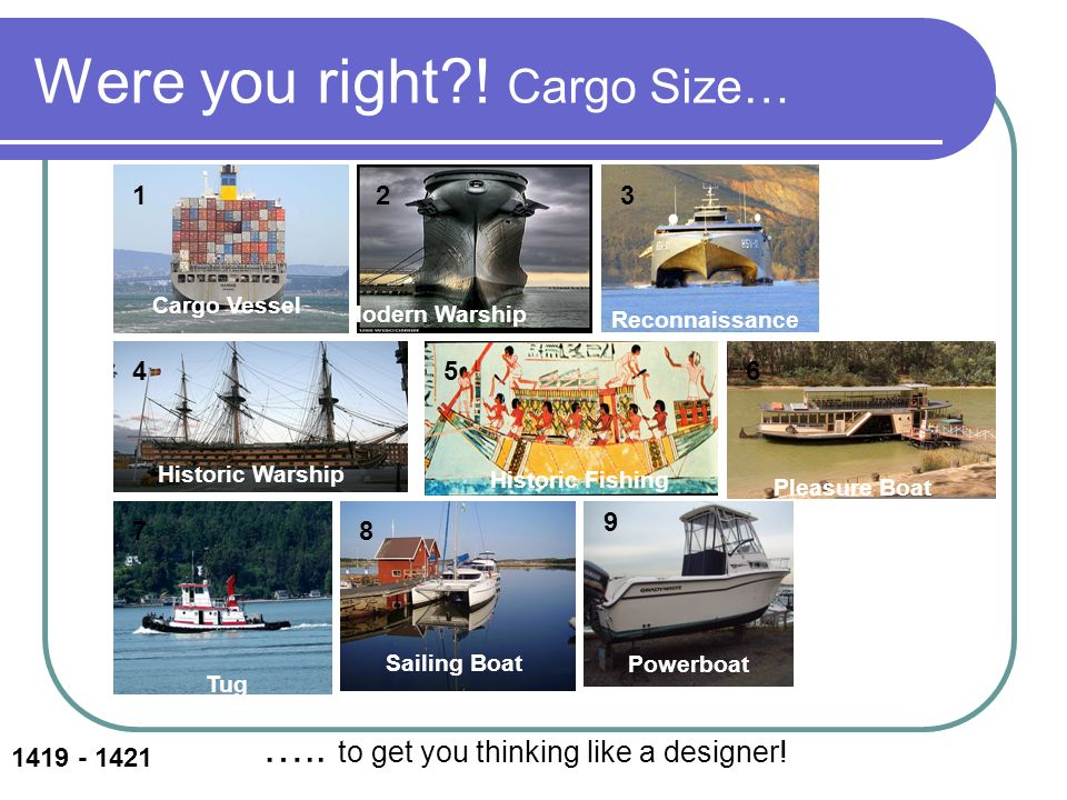 Were you right?! Cargo Size… Modern Warship Tug Pleasure Boat Historic Warship Sailing Boat Reconnaissance Powerboat Cargo Vessel Historic Fishing Sai