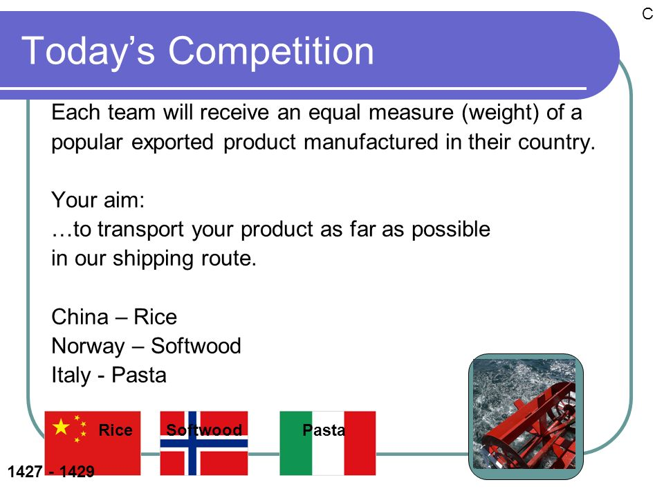 Todays Competition Each team will receive an equal measure (weight) of a popular exported product manufactured in their country. Your aim: …to transpo
