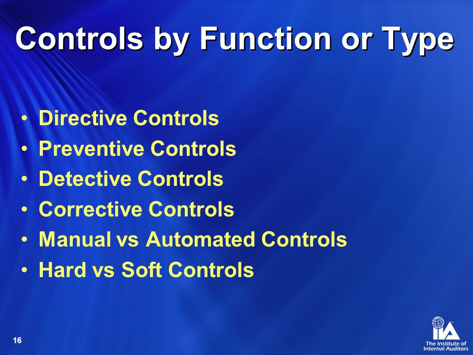 16 Controls by Function or Type Directive Controls Preventive Controls Detective Controls Corrective Controls Manual vs Automated Controls Hard vs Soft Controls