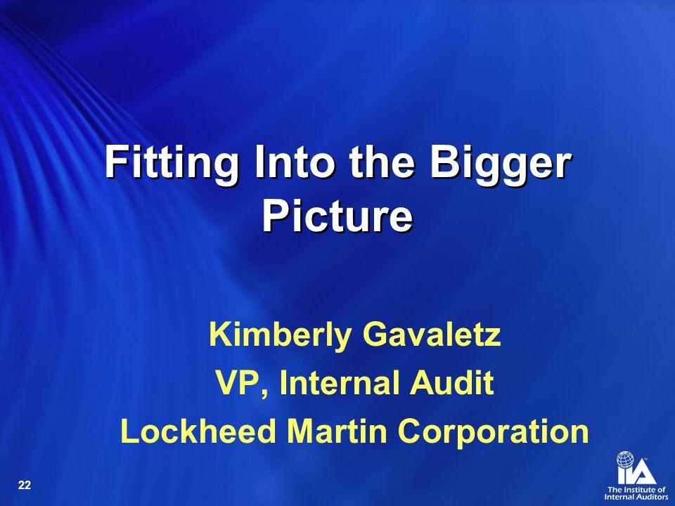 22 Fitting Into the Bigger Picture Kimberly Gavaletz VP, Internal Audit Lockheed Martin Corporation