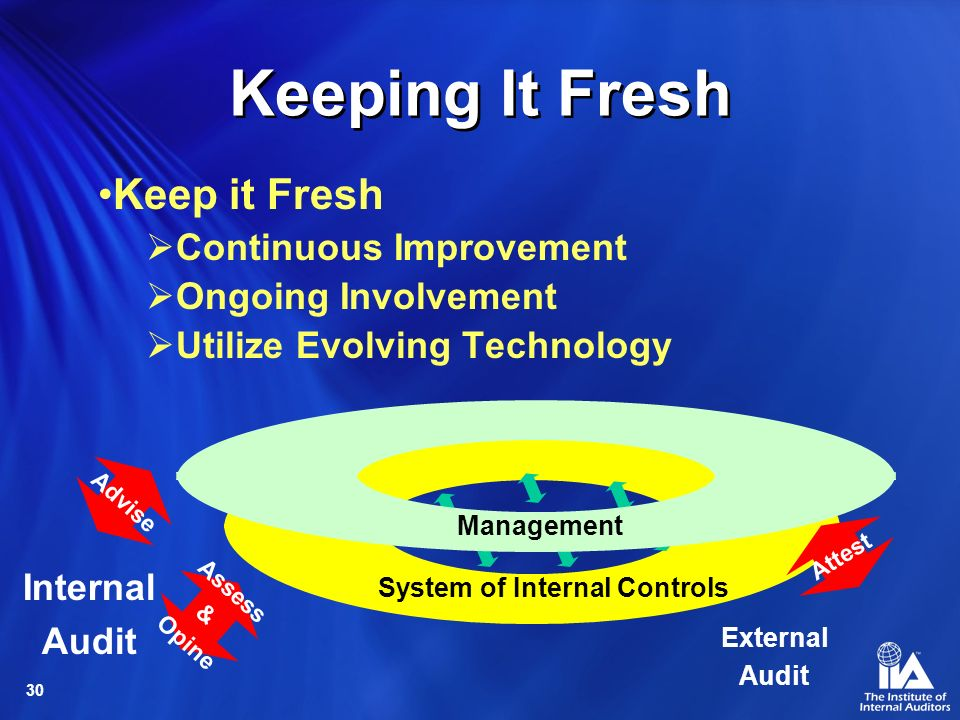 30 Keeping It Fresh Keep it Fresh Continuous Improvement Ongoing Involvement Utilize Evolving Technology System of Internal Controls Management Advise Assess & Opine Internal Audit External Audit Attest