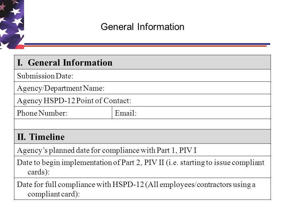 General Information I.