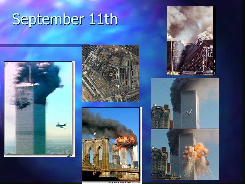 The Morning of September 11th n n 2 hijacked aircraft took down the World Trade Center Towers.