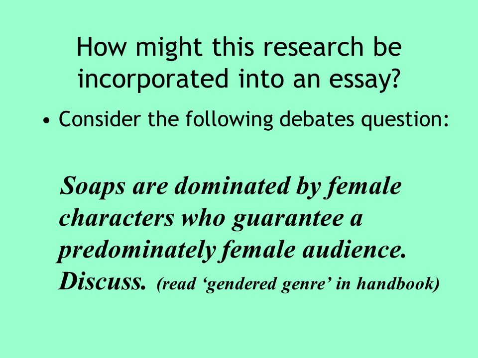 How might this research be incorporated into an essay.