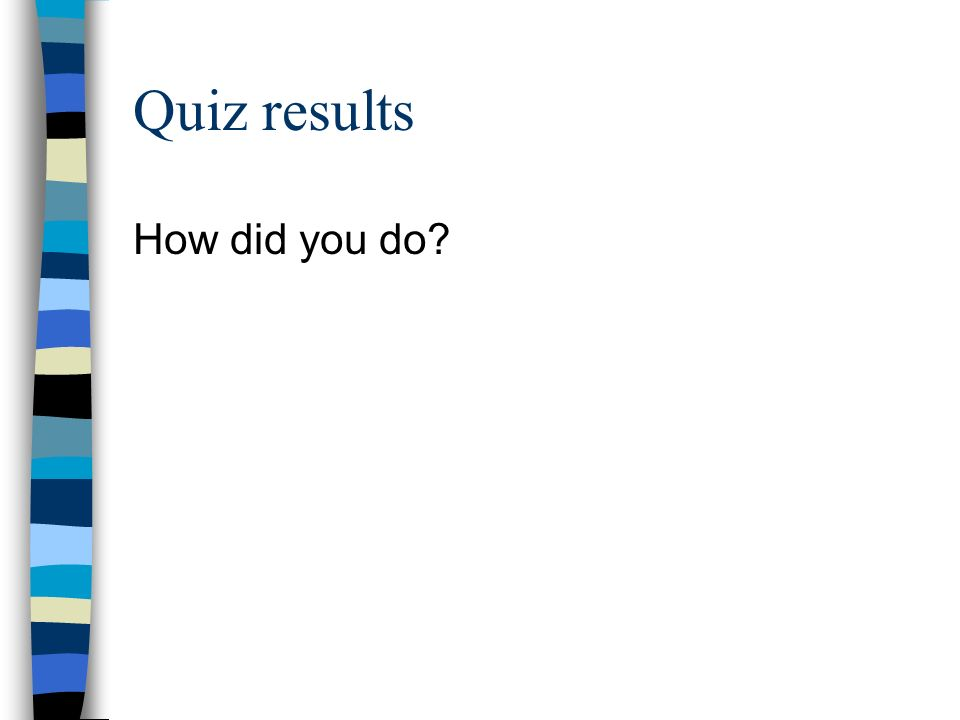 Quiz results How did you do