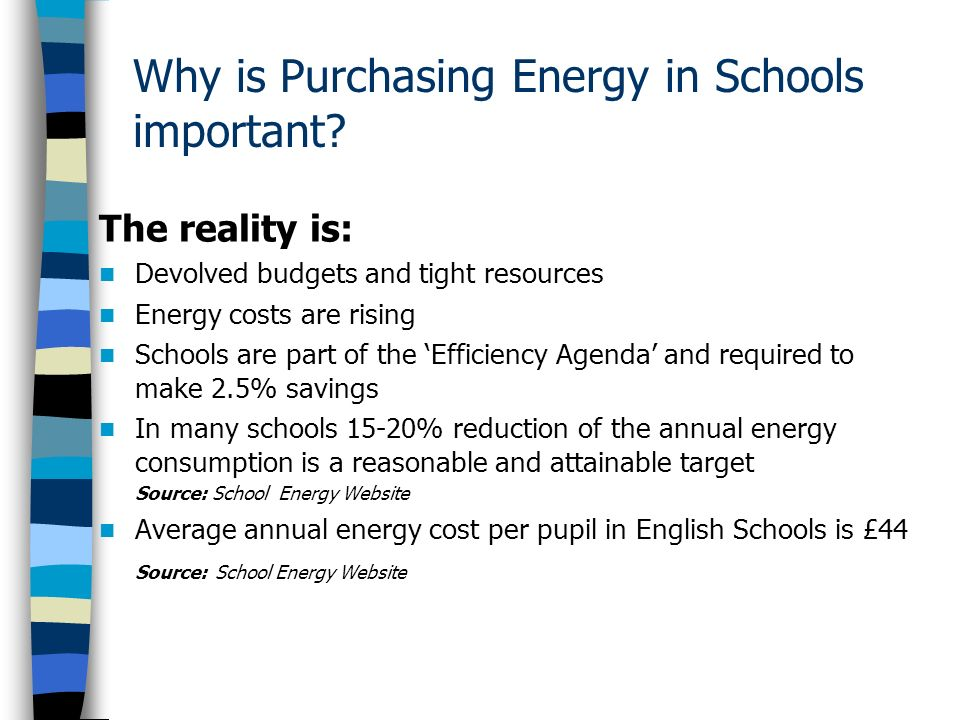 Why is Purchasing Energy in Schools important.