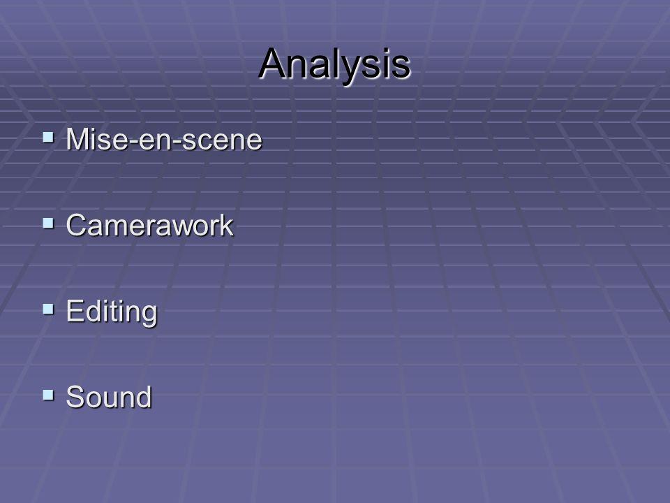Analysis Mise-en-scene Mise-en-scene Camerawork Camerawork Editing Editing Sound Sound