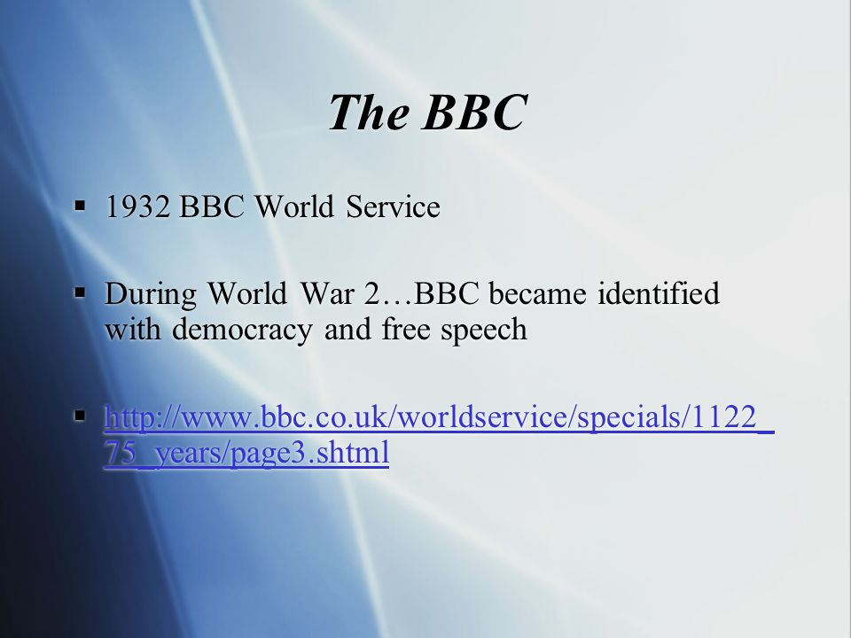 The BBC Founded in 1931 as a public service to bring high culture to the masses Director General - John Reith - a man with a mission… saw radio as a way to promote learning & culture (with some light entertainment too!!) Founded in 1931 as a public service to bring high culture to the masses Director General - John Reith - a man with a mission… saw radio as a way to promote learning & culture (with some light entertainment too!!)