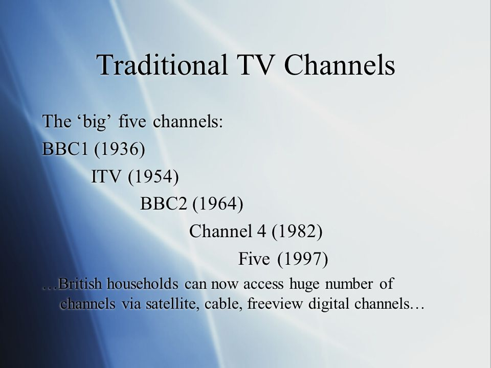 Commercial TV Independent Television (ITV) Started in 1954 Money comes from advertising Do advertisers influence programming? What about ITV News (ITN