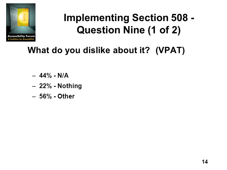 14 Implementing Section 508 - Question Nine (1 of 2) What do you dislike about it?(VPAT) –44% - N/A –22% - Nothing –56% - Other