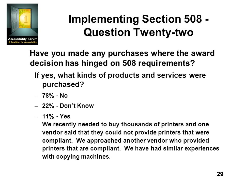 29 Implementing Section Question Twenty-two Have you made any purchases where the award decision has hinged on 508 requirements.