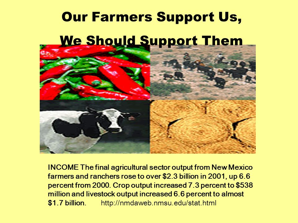 INCOME The final agricultural sector output from New Mexico farmers and ranchers rose to over $2.3 billion in 2001, up 6.6 percent from 2000.
