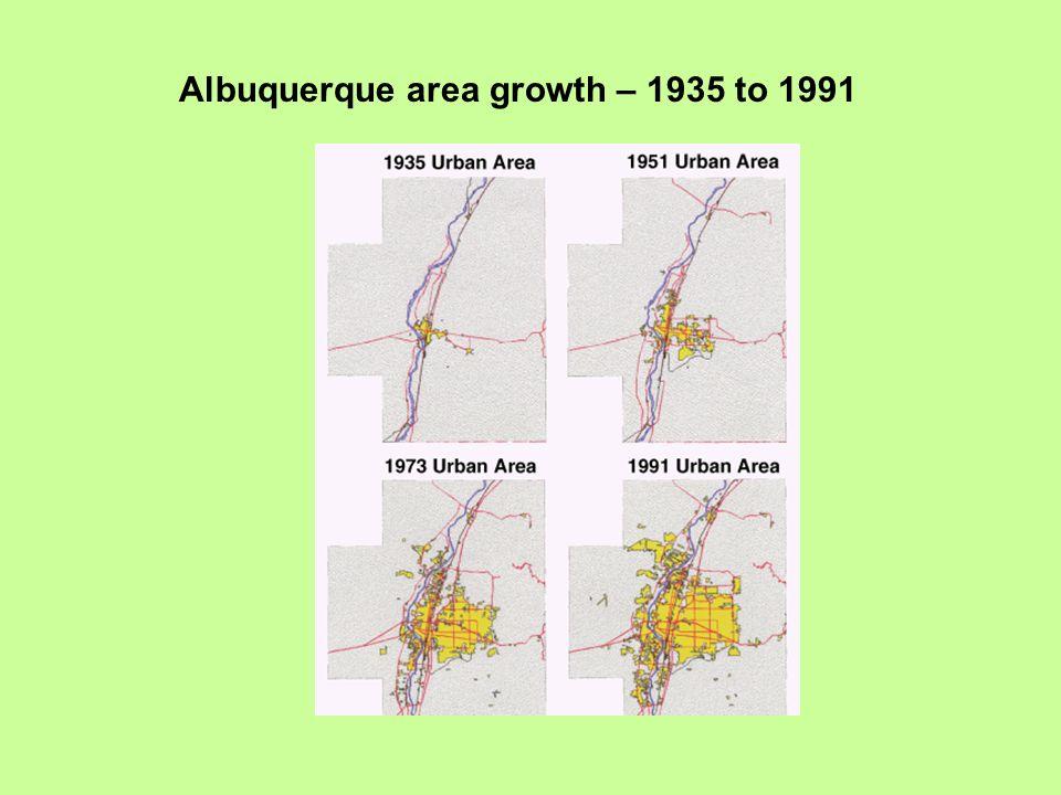 Albuquerque area growth – 1935 to 1991