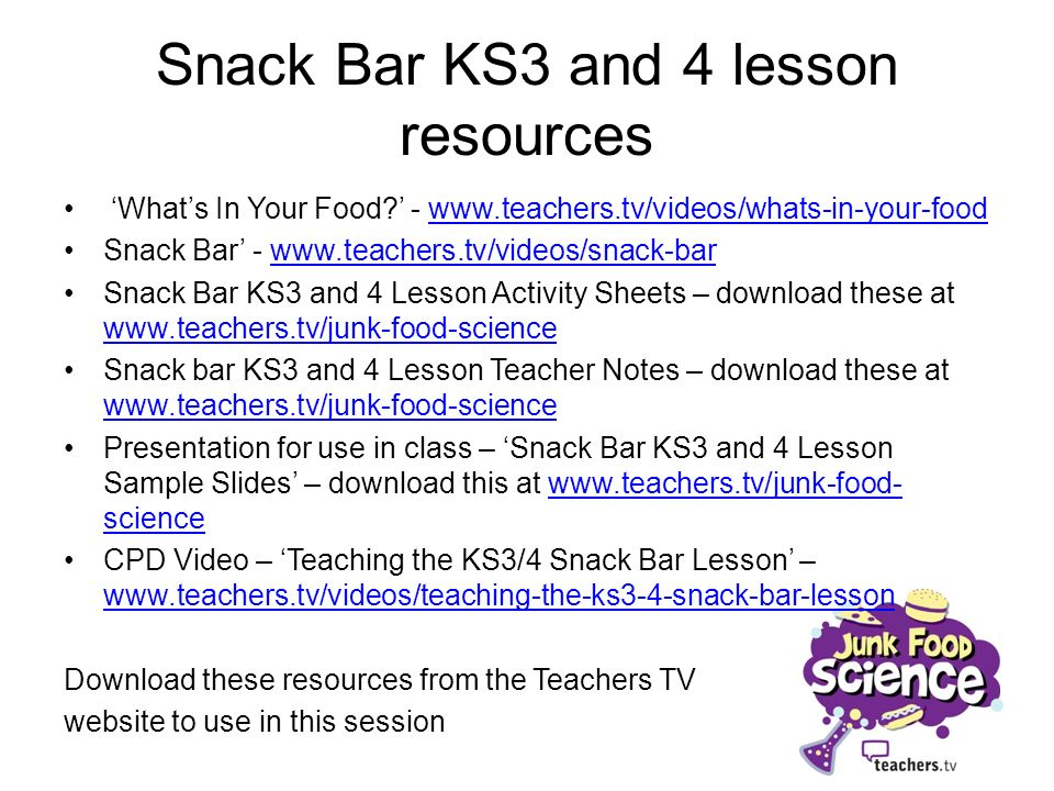 Snack Bar KS3 and 4 lesson resources Whats In Your Food.