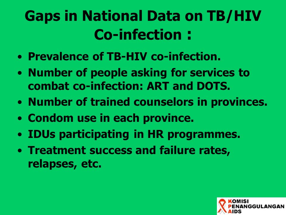 Gaps in National Data on TB/HIV Co-infection : Prevalence of TB-HIV co-infection. Number of people asking for services to combat co-infection: ART and