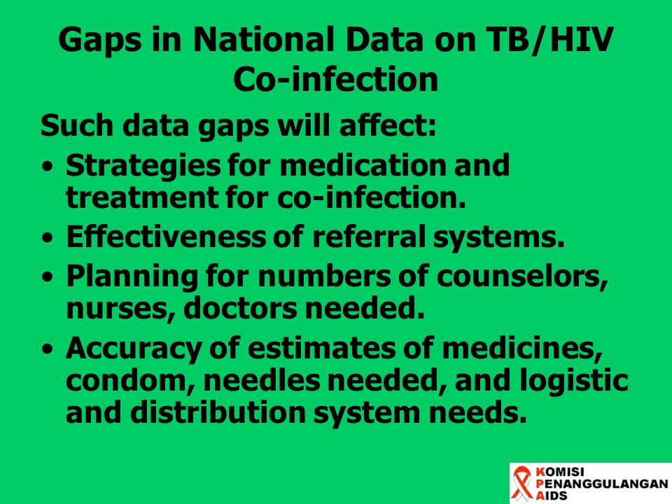 Gaps in National Data on TB/HIV Co-infection Such data gaps will affect: Strategies for medication and treatment for co-infection. Effectiveness of re