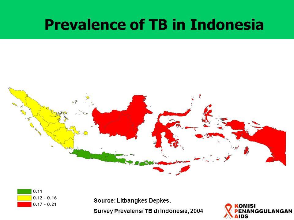 Prevalence of TB in Indonesia Source: Litbangkes Depkes, Survey Prevalensi TB di Indonesia, 2004
