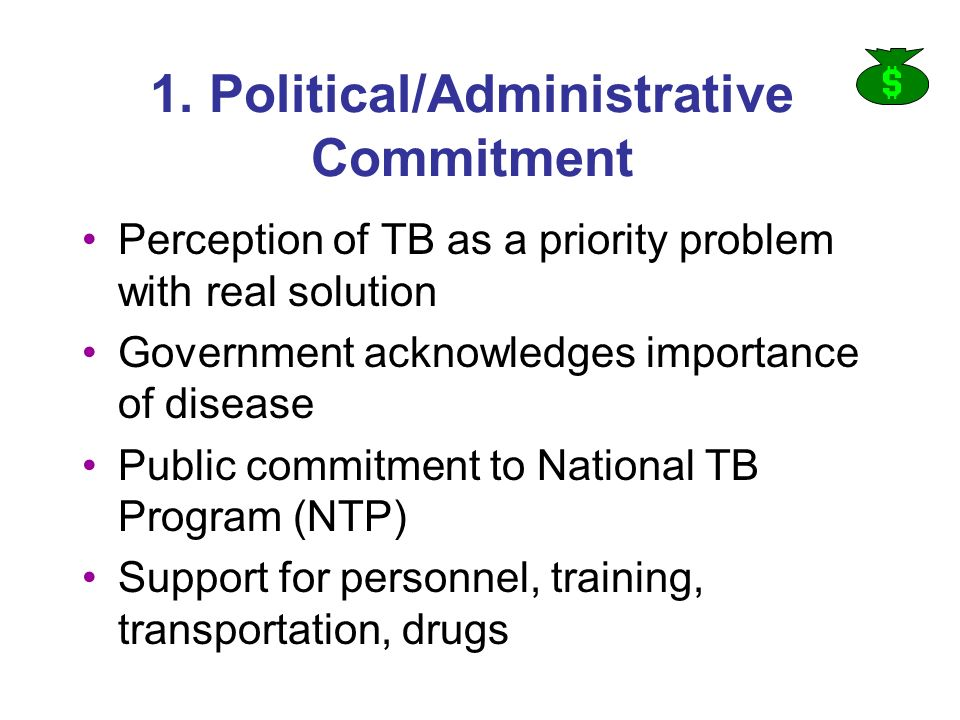 1. Political/Administrative Commitment Perception of TB as a priority problem with real solution Government acknowledges importance of disease Public