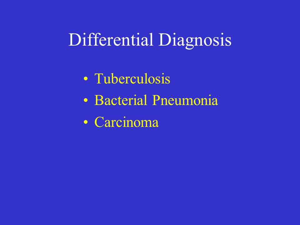 Differential Diagnosis Tuberculosis Bacterial Pneumonia Carcinoma