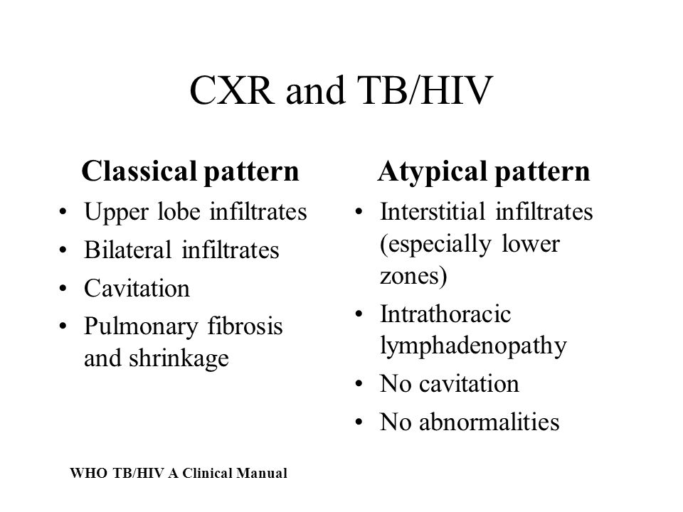 CXR and TB/HIV Classical pattern Upper lobe infiltrates Bilateral infiltrates Cavitation Pulmonary fibrosis and shrinkage Atypical pattern Interstitial infiltrates (especially lower zones) Intrathoracic lymphadenopathy No cavitation No abnormalities WHO TB/HIV A Clinical Manual