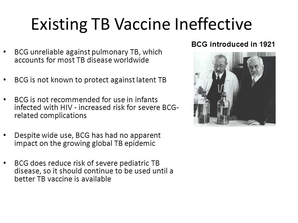 Future Vaccination Strategies 1 1.Pre-exposure vaccination with superior BCG replacement to prevent tuberculosis in early childhood and to delay tuberculosis disease outbreak in adults 2.Pre-exposure boost with subunit vaccine in children primed with BCG to prevent tuberculosis in early childhood and to delay tuberculosis disease outbreak in adults 3.Post-exposure boost with subunit vaccine in adults who had been primed with BCG during early childhood to delay tuberculosis disease outbreak in adults