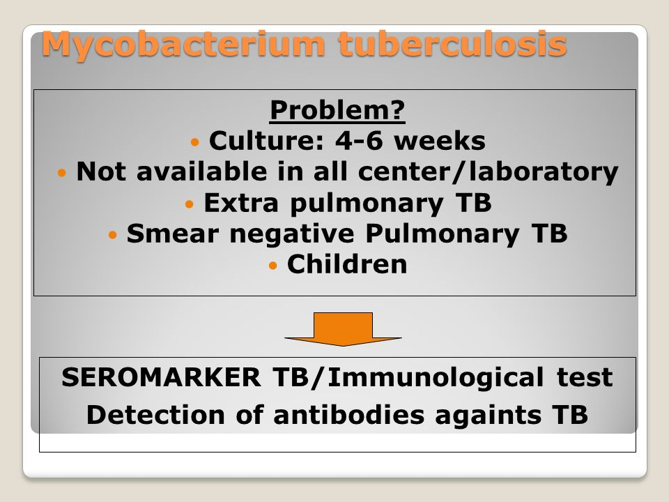 Mycobacterium tuberculosis Problem? Culture: 4-6 weeks Not available in all center/laboratory Extra pulmonary TB Smear negative Pulmonary TB Children
