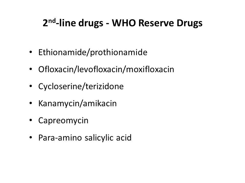 2 nd -line drugs - WHO Reserve Drugs Ethionamide/prothionamide Ofloxacin/levofloxacin/moxifloxacin Cycloserine/terizidone Kanamycin/amikacin Capreomyc