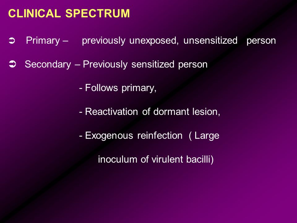 CLINICAL SPECTRUM Primary – previously unexposed, unsensitized person Secondary – Previously sensitized person - Follows primary, - Reactivation of do