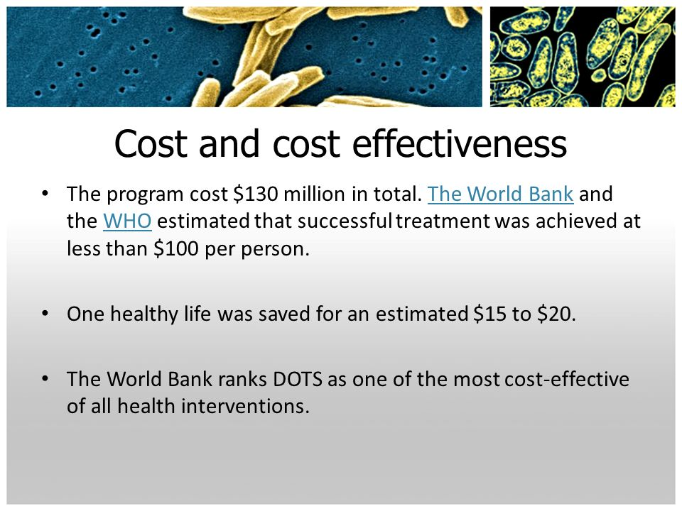 Cost and cost effectiveness The program cost $130 million in total. The World Bank and the WHO estimated that successful treatment was achieved at les