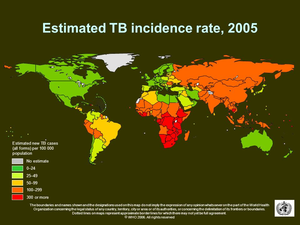 Estimated TB incidence rate, 2005 No estimate 0–24 50–99 100–299 300 or more 25–49 Estimated new TB cases (all forms) per 100 000 population The bound