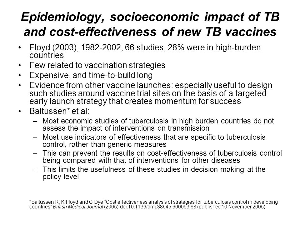 Epidemiology, socioeconomic impact of TB and cost-effectiveness of new TB vaccines Floyd (2003), 1982-2002, 66 studies, 28% were in high-burden countr