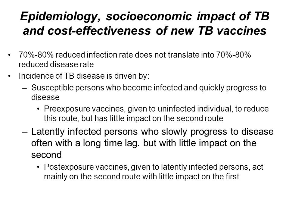 Epidemiology, socioeconomic impact of TB and cost-effectiveness of new TB vaccines 70%-80% reduced infection rate does not translate into 70%-80% redu