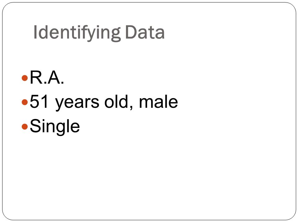 Identifying Data R.A. 51 years old, male Single