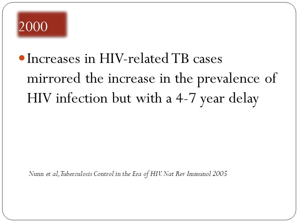 2000 Increases in HIV-related TB cases mirrored the increase in the prevalence of HIV infection but with a 4-7 year delay Nunn et al, Tuberculosis Con