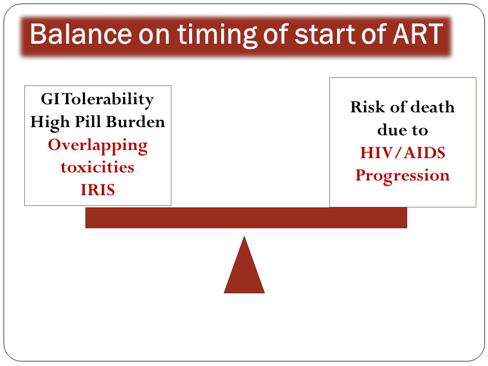 Balance on timing of start of ART GI Tolerability High Pill Burden Overlapping toxicities IRIS Risk of death due to HIV/AIDS Progression