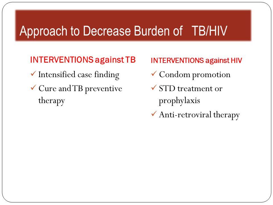 Approach to Decrease Burden of TB/HIV INTERVENTIONS against TB INTERVENTIONS against HIV Intensified case finding Cure and TB preventive therapy Condo